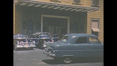 Vintage 16mm film, 1953 Italy, window shopping Stock Footage