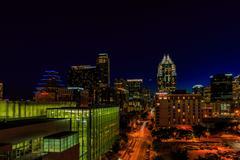 Downtown Austin Cityscape at Night Kuvituskuvat