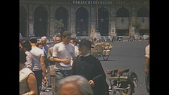 Vintage 16mm film, 1953 Italy, People streetcar, traffic and Termini rail... Stock Footage