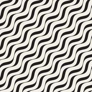 Vector Seamless Black and White Hand Drawn Diagonal Wavy Lines Pattern Stock Illustration