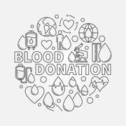 Blood Donation round illustration Stock Illustration
