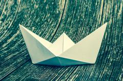Origami white paper boat Stock Photos