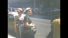 Vintage 16mm film, 1953 Italy, Spanish steps, people geting in car Stock Footage