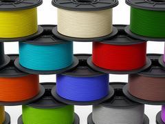 3D printer filaments. 3D illustration. Stock Illustration