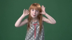 Cute ginger girl playing the ape Stock Footage