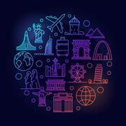 Travel round colorful illustration Stock Illustration
