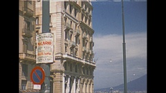 Vintage 16mm film, 1953 Italy Naples, city traffic, along the seawall b-roll Stock Footage