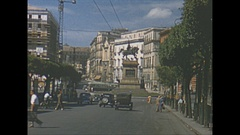 Vintage 16mm film, 1953 Italy Naples, city traffic b-roll, nice sequence Stock Footage