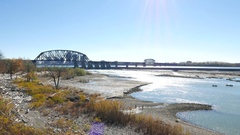 Ohio River Clark Memorial Bridge Louisville Kentucky Stock Footage