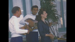 Vintage 16mm film, 1953 Italy Pompeii, music and food Stock Footage