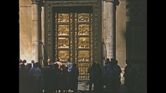Vintage 16mm film, 1953 Italy, Florence baptistry doors bronze, sequence Stock Footage