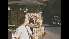 Vintage 16mm film, 1953 Italy, florence news stand, nice detail Stock Footage