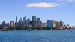 Sydney skyline from the water point of view in Sydney Harbor New South Wales, A Stock Footage
