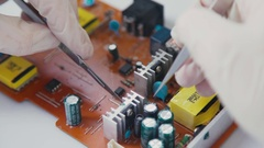 Electronics and chip. Components PCB micro: resistors and capacitors Stock Footage