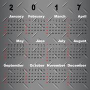 Business vector template of 2017 calendar on metal grey background Stock Illustration