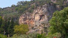 View of Ancient Rock Tombes Stock Footage