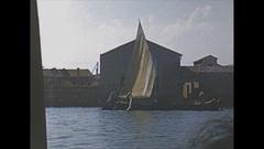 Vintage 16mm film, 1953 Italy, Venice boat ride across lagoon Stock Footage