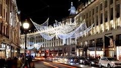 Christmas in London. Timelapse.Regent Street Stock Footage
