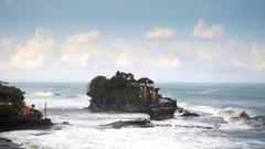 Pura Tanah Lot Temple in Tabanan, Bali, Indonesia Stock Footage