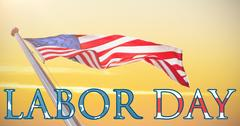 Composite image of panoramic shot of labor day text Stock Illustration