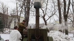 Russia Military Field Kitchen Stock Footage
