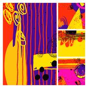Set of modern abstract contemporary painting in trendy hipster s Stock Illustration