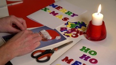 Preparing cards for Christmas Stock Footage