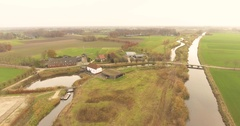 Aerial landscape dutch watermill Stock Footage