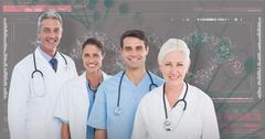 3D Composite image of portrait of confident medical team Stock Photos