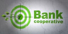 Currency concept: target and Bank Cooperative on wall background Piirros
