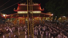 PHUKET, THAILAND October 7, 2016:Aerial:Vegetarian festival.Sharp steps. Stock Footage