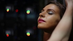 Putting make-up on young beautiful womans face while preparing for a contest Stock Footage