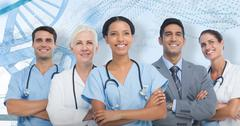3D Composite image of confident medical team looking away Stock Photos