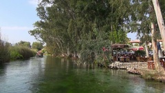 Azmak River in the town Akyaka from pleasure boat Stock Footage