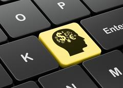Finance concept: Head With Finance Symbol on computer keyboard background Stock Illustration