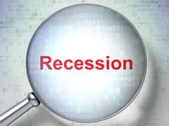 Finance concept: Recession with optical glass Stock Illustration