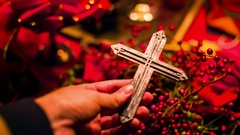 Christian cross chrismas hold christ Stock Footage
