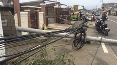 Destroyed Power Lines After Hurricane Winds Hit Town Stock Footage