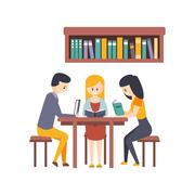 Library Or Bookstore With Students Reading Books And Studying Together At The Stock Illustration