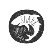 Curled Shark In Round Frame Summer Surf Club Black And White Stamp With Stock Illustration