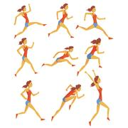 Female Sportswoman Running The Track With Obstacles And Hurdles In Red Top And Stock Illustration