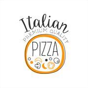 Full Pizza Round Frame Premium Quality Italian Pizza Fast Food Street Cafe Menu Stock Illustration