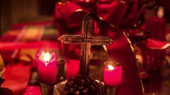 Christian christmas cross candles candle Stock Footage