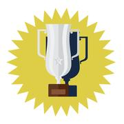 Winner silver cup flat design vector Stock Illustration