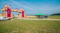 Big wooden gate at the entrance of the festival Stock Footage