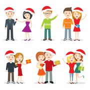 Christmas Celebrating Characters flat Design Stock Illustration