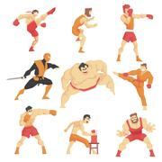 Martial Arts Fighters Demonstrating Different Technique Kicks Set Of Asian Stock Illustration