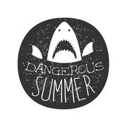 Great White Shark With Open Mouth Summer Surf Club Black And White Stamp With Piirros