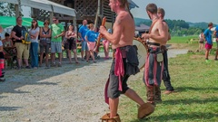 Young musicians are performing for visitors of the medieval festival Stock Footage