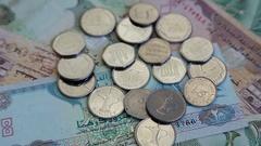 Arab money UAE dirhams on rotating surface background Stock Footage